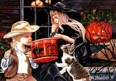 Final SALE ACEO Halloween Trick Treat Children Cat Witch folk costume M Mishkova #ACEOartcards
