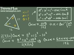 Teorema del coseno ejemplo 5 (tres lados) Math Equations, Trigonometry, Law Of Cosines, Finance, Science