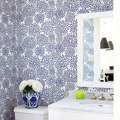Our Mums the Word wallpaper brightens up this powder room!