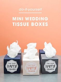 Mini Wedding Tissue Boxes Are A MUST Make DIY Project! Make these mini wedding tissue boxes using your Cricut Explore in less than 5 minutes!Make these mini wedding tissue boxes using your Cricut Explore in less than 5 minutes! Wedding Tips, Our Wedding, Wedding Planning, Wedding Hacks, Dream Wedding, Diy Wedding Projects, Diy Projects, Wedding Tissues, Cricut Wedding