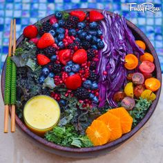 FULLYRAW.  〰〰〰〰〰〰〰〰〰〰 Tonight's dinner is a rainbow salad of purple kale, berries, pomegranates, purple cabbage, cherry tomatoes, and tangerines with an orange pineapple ginger dressing!
