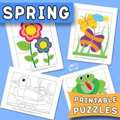 Spring Printable Puzzles for Kids - itsybitsyfun.com