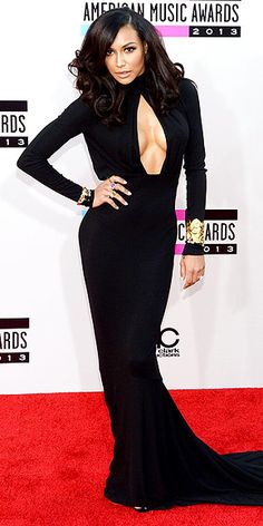 Naya Rivera in black Michael Kors gown at the AMAs