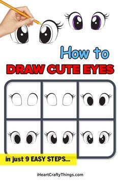 Cartoon Eyes, Cartoon Drawings, Cute Drawings, Cute Eyes Drawing, Drawing For Kids, Eye Outline, Realistic Eye, Medium Art, Step Guide