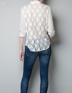 White Blouse with Lace Highlights