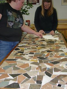 How to make a mosaic tile tabletop diy and crafts for Mosaic tile bar top