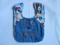 Rag Denim Bib  Puppy Dogs. Made from dog print flannel on top of blue jeans, back is all dog flannel print. by StitchnNana on Etsy, $10.00