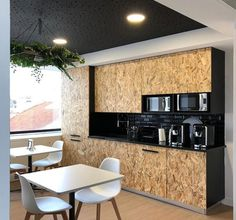OSB | BLACK | WHITE (Interior Design by TDGI Portugal)  New Office in Lisbon, Portugal Office design, work with a view, Kitchen, Work place design, Interior design.