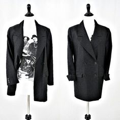 vintage 80s SONIA RYKIEL inscription double breasted WOOL charcoal blazer size M L by PasseNouveauVintage, $55.00