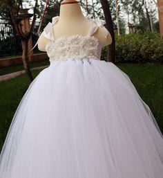 Flower Girl Dress White tutu dress baby by coloranglesBoutique White Flower Girl Dresses, Flower Girl Tutu, Flower Girls, White Tutu, White Dress, Toddler Dress, Baby Dress, Blessing Dress, Tutus For Girls