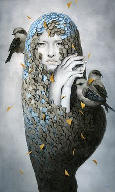 """darksilenceinsuburbia:  """" Tran Nguyen. Nestled Within a Pallid Disposition, 2012. Acrylic and color pencil.  http://studentpages.scad.edu/  """""""