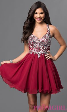 Short A-Line Beaded Bodice Prom Dress  DQ-8997