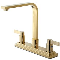 Elements of Design NuvoFusion Euro Double Handle Centerset High Rise Spout Kitchen Faucet without Sprayer