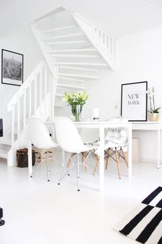 White dining room   Eames chairs   scandinavian style