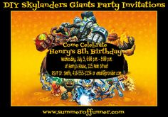 DIY Sklyanders Giants Party Invitations Tutorial