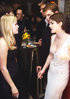 Reese Witherspoon, Winona Ryder and Matt Damon attend the 57th Annual Golden Globe Awards on January 23, 2000.