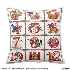 12 Days Of Christmas Quilt Print Gifts #Pillows #Christmas #12DaysOfChristmas #HolidayGifts #Gifts #Shopping