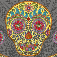 """""""Skully"""" is based on """"Dias de los Muertos"""", a traditional Mexican holiday dedicated to the ancestors; it honors both death and the cycle of life. The celebration acknowledges that we still have a relationship with our ancestors and loved ones that have passed away. GROOVITY...Designs by Mary Tanana"""