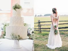 Cute back to her wedding gown. Real Wedding: Lauren & Grant   Snippet & Ink