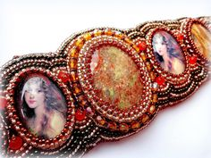 Beadwork+Jasper+Bracelet+Bead+Embroidery+by+KristinesBeads+on+Etsy,+$99.00