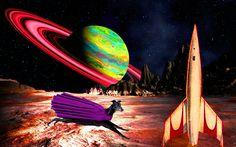 Greyhound Art - by Jeffrey Hunter  - Maximillion Greyhound the Astronaut.