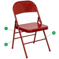 """Leisure Series Colorful All Metal Folding Chair - Indoor-Outdoor Easy to Clean with 300 lb Weight Capacity - Red  Metal Folding Chair; 22mm x 1.2mm Round Steel Pipe Frame; Triple Braced Frame; Double Hinged  Riveted Steel Components; 18 Gauge Steel Frame; Red Frame Finish; Non-Marring Glides  Easy to Clean; Designed for Indoor and Outdoor Use; Designed for Commercial Use;  Seat Size: 15.75""""W x 15.75""""D; Back Size: 18""""W x 14.50""""H;  Seat Height: 16.50""""H; Weight Capacity: 300;"""