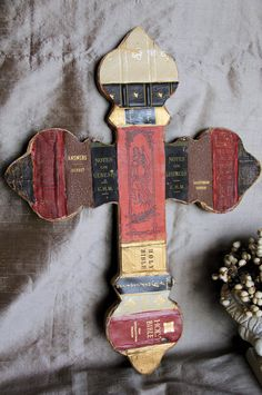 Cross made with Book Spines Antique Books Bible Quotes Book pages, Gift, Fathers Day, wedding gift, book lover, Inspirational, Vintage