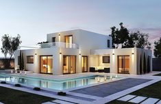 Pin on Villas de luxe Modern House Plans, Modern House Design, Casas Containers, Luxury Homes Dream Houses, Dream Home Design, Exterior Design, Modern Architecture, New Homes, House Styles