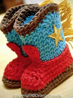 Crochet Baby Cowboy Boots FREE Pattern