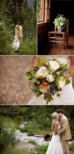 Love the wildflowers bouquet and the pictures near the creek. Great idea for photos at Z5 Ranch