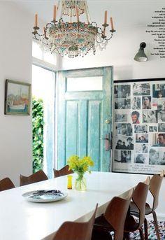 Beautiful worn Turquoise front door