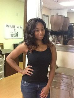 Tree Braids with Body Wave Hair in 1B/30 with Ombre' Effect Invisible braids hairstyles - tree braids  http://www.shorthaircutsforblackwomen.com/natural_hair-products/
