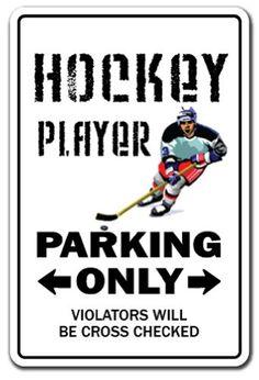 HOCKEY PLAYER ~Sign~ parking fan stick puck fan gift