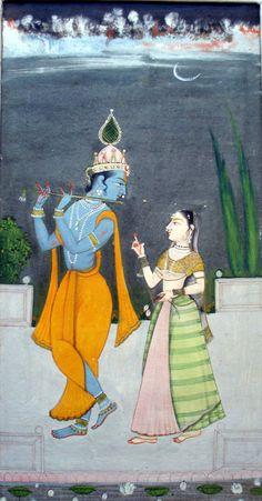 Krishna Fluting for Radha . Style: Bikaner. 18th C.