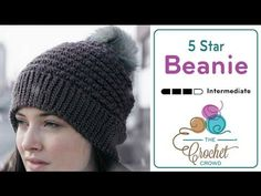 Moss Stitch Beanie - Crochet Tutorial (Crunch Stitch) - YouTube