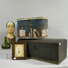 """Five Mostly 19th Century Articles, a large oval wallpaper hat box with cover, a painted papier-mache milliner's model bust, an olive blown glass bottle, black-painted pine dome-top trunk, and a framed ink, hair, ribbon, and paper valentine """"E.L. Warwick to Mary M. Sanford,""""  Skinner"""