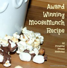 Award Winning Moose Munch Recipe ~ Easy microwave caramel corn, chocolate, nuts and marshmallows turn popcorn into a gourmet treat worthy gifting.great for EASTER BASKETS! Yummy Snacks, Yummy Treats, Delicious Desserts, Sweet Treats, Yummy Appetizers, Popcorn Recipes, Snack Recipes, Dessert Recipes, Candy Recipes