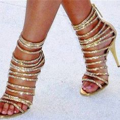 Gold Strappy Heels Sequined Stiletto Heel Sandals for Party