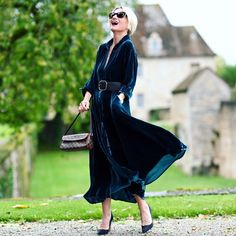 Velvet belted dress and pumps | Photo shared by Yvonne | For more style inspiration visit 40plusstyle.com