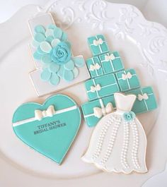 Tiffany inspired bridal shower cookies