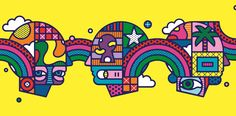 Craig & Karl's brightly coloured psychedelic artwork for Edinburgh International Book Festival