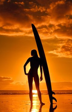 "~ ""Sunset #Surfer #Girl"" ~ BY David Puu Weekly Give-A-Way… #surfergirl"