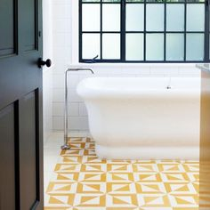 Sunshine yellow floor tiles as I am missing that sunshine already. Please come back. @mydomaine @alifedotowsky . . . #tiles #tileinspo… Bathroom Floor Tiles, Tile Floor, Heath Ceramics Tile, House In The Clouds, Double Garage, Interior Inspiration, Area Rugs, Flooring, Design