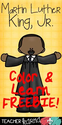 Classroom Freebies: Martin Luther King, Jr. ~ Color and Learn FREEBIE!