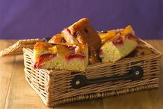 A moist, fruity sponge cake, packed with sweet apples and plums and drizzled in vanilla syrup.