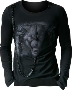 Long-sleeve top werewolf print and chain