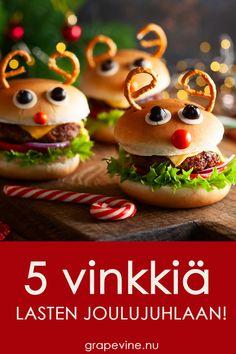 Petteripurilainen  Jos lastenjuhlaan haluaa joulupöydän sijaan järjestää jotain muuta, niin klassinen hampurilainen joulun henkeen, sopii aivan loistavasti – Petteripurilainen! Valmista aivan tavallinen hampurilainen ja koristele se poron näköiseksi. Suolarinkelit sarviksi, cocktailtomaatti kuonoksi ja silmät voit tehdä oliiveista ja halutessasi ohuista kurkkusiivuista.  Kiinnitä tomaatti ja oliivit paikalleen hammastikuilla. Christmas 2019, Xmas, Hamburgers, Food Humor, Marshmallows, Diy For Kids, Cake Pops, Grape Vines, Kids Meals