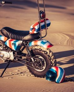 motorcycle brand deus ex machina has teamed up with artist paul mcneil to create the 'goof bike', an old-school yet unconventional means of transport. Honda Grom, Honda S, Deus Ex Machina, Cafe Racer Kits, Alternative Artists, Ape Hangers, New Tank, Triumph Bonneville, Surf Outfit