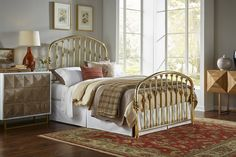 Arched headboard and footboard solid brass bed with decorative details Brass Headboard, Brass Bed, Headboard And Footboard, Rainbow Bedding, Wrought Iron Beds, Stair Steps, Daybed, Vanities, Solid Brass