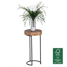 FineBuy Beistelltisch Massiv Holz Akazie Wohnzimmer Tisch Metallbeine Landhaus Stil Baumstamm Form